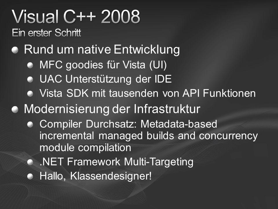 Rund um native Entwicklung MFC goodies für Vista (UI) UAC Unterstützung der IDE Vista SDK mit tausenden von API Funktionen Modernisierung der Infrastruktur Compiler Durchsatz: Metadata-based incremental managed builds and concurrency module compilation.NET Framework Multi-Targeting Hallo, Klassendesigner!