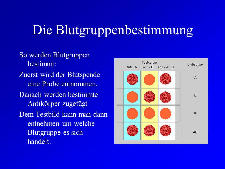 Die 4 Blutgruppen Es gibt 4 verschiedene Blutgruppen die sich wiederum in 2 Untergruppen, Rhesusfaktor positiv und negativ, unterteilen lassen. Die Bl