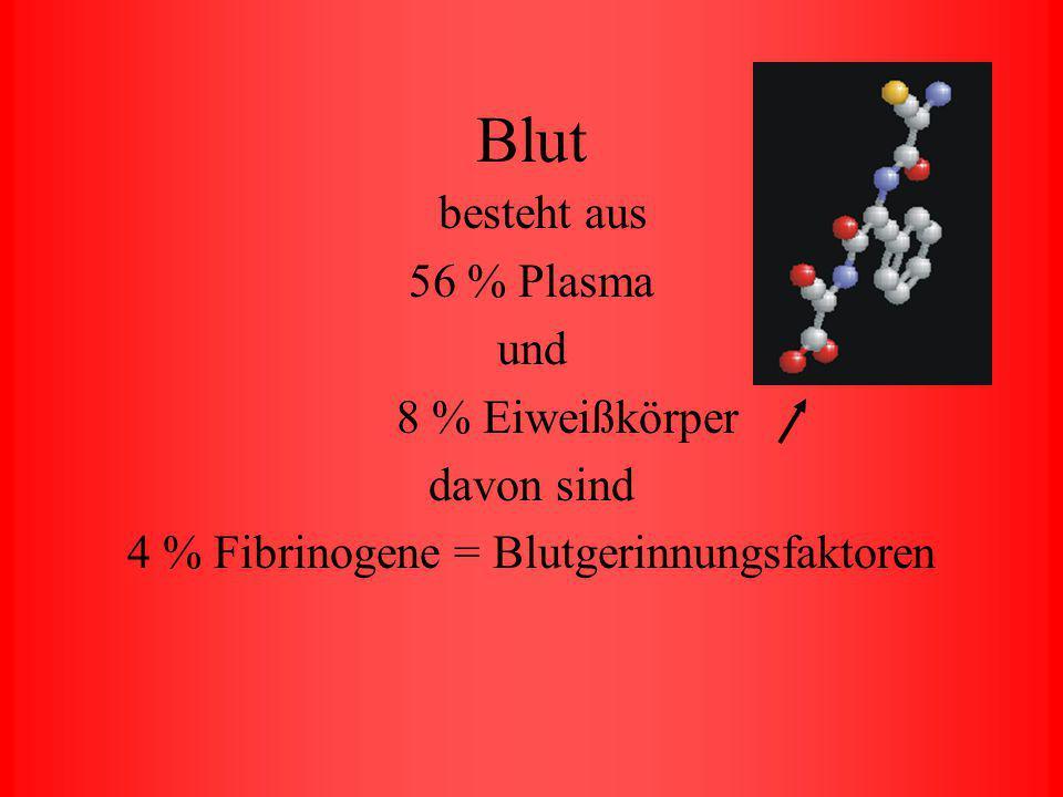 Blutmenge Normale Blutmenge eines Erwachsenen 1/14 seines Körpergewichtes 70 kg = 5 – 6 Liter Blut