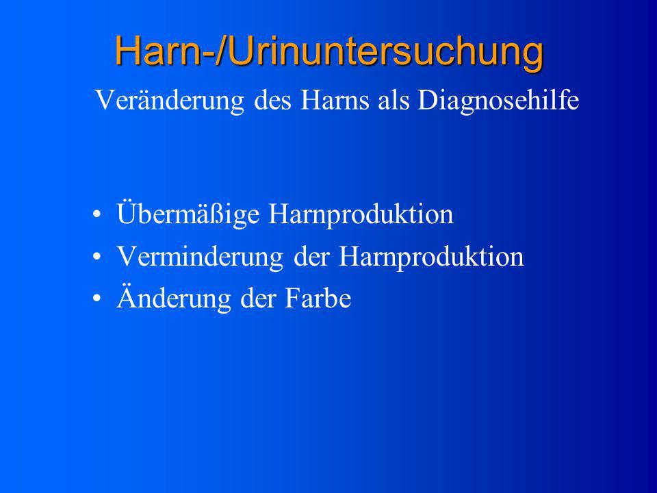 Durchsichtige, gelbe Flüssigkeit Harnstoff (Abbauprodukt von Eiweiß) Stickstoff Chloride Ketosteroide Phosphat Schwefel Ammoniak Kreatin Harnsäure Zus