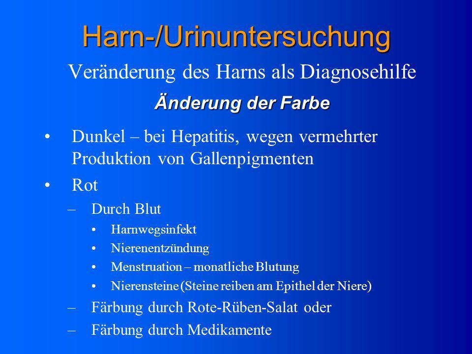 Anhaltendes, hohes Fieber Niereninsuffizienz (Versagen d. Nieren) Herzinsuffizienz (Versagen des Herzens) Schwangerschaft Veränderung des Harns als Di
