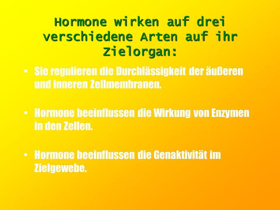 Wirkungsweise der Hormone: Wirkungsweise der Hormone:. Während ihres Transports im Blut sind Hormone an spezielle Transportproteine (Carrier) gebunden