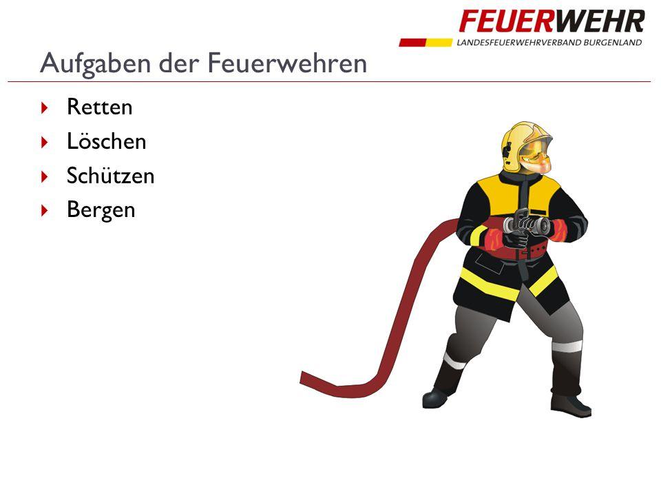 Aufgaben der Feuerwehren  Retten  Löschen  Schützen  Bergen