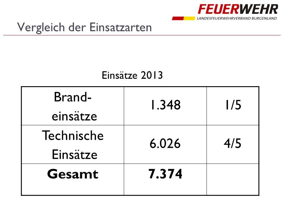 Vergleich der Einsatzarten Brand- einsätze 1.3481/5 Technische Einsätze 6.0264/5 Gesamt7.374 Einsätze 2013