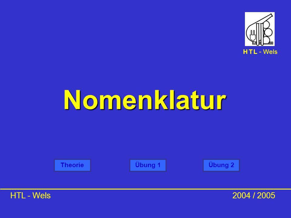 Nomenklatur HTL - Wels2004 / 2005 TheorieÜbung 1 H T L - Wels Übung 2 Dipl.-Ing. Dr. Günter Eichberger