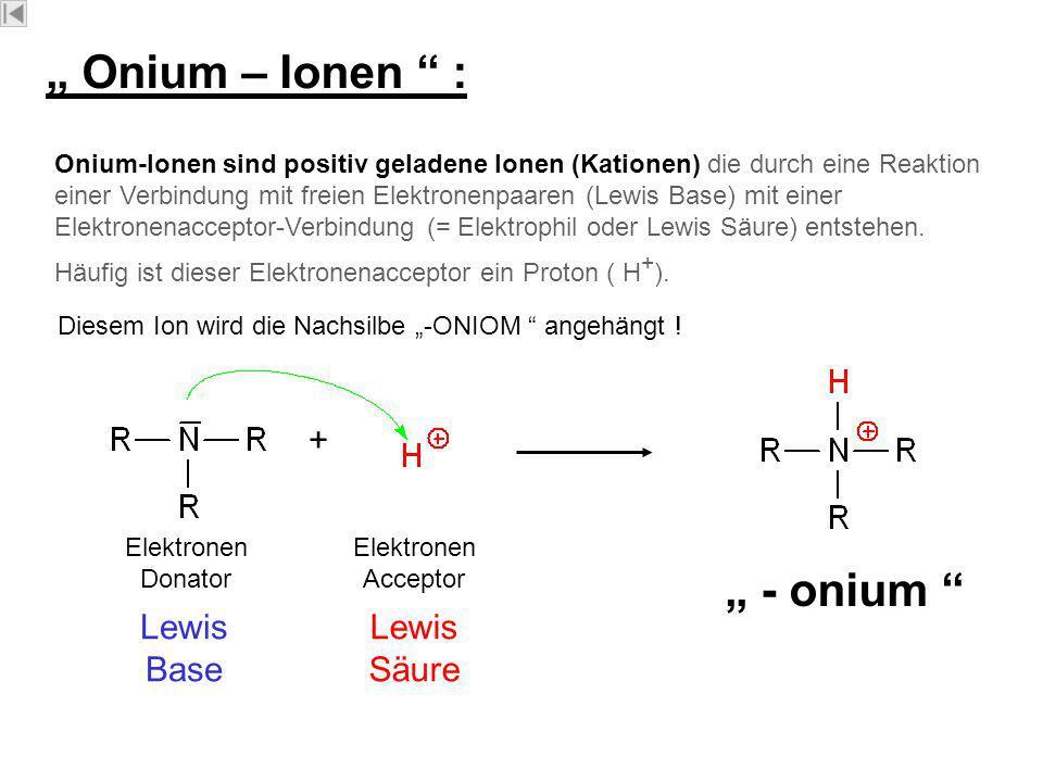 """ONIU M """" Onium – Ionen : Onium-Ionen sind positiv geladene Ionen (Kationen) die durch eine Reaktion einer Verbindung mit freien Elektronenpaaren (Lewis Base) mit einer Elektronenacceptor-Verbindung (= Elektrophil oder Lewis Säure) entstehen."""