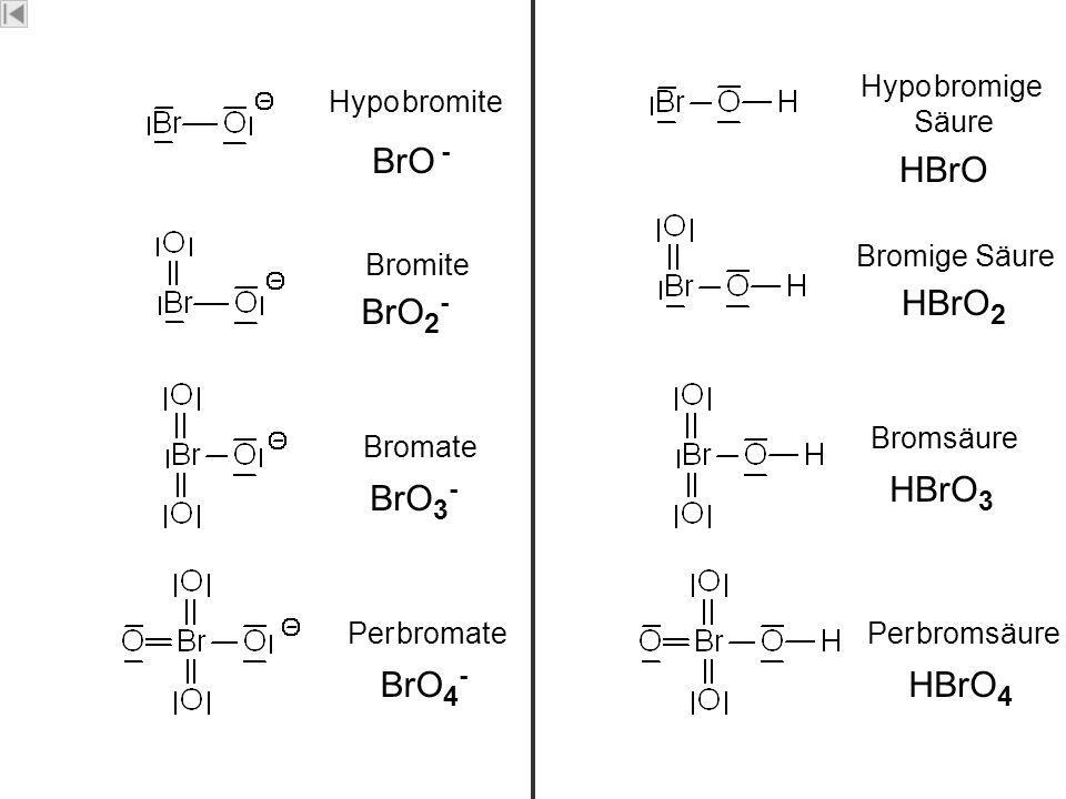 Brom Bromate Bromite Per bromate Hypo bromite BrO 3 - BrO 2 - BrO 4 - BrO - Bromsäure Bromige Säure Per bromsäure Hypo bromige Säure HBrO 3 HBrO 2 HBr