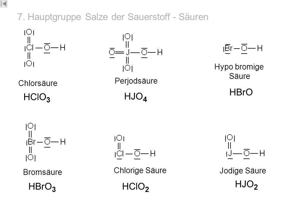 7-HG- Säure n Chlorsäure HClO 3 Perjodsäure HJO 4 Hypo bromige Säure HBrO Chlorige Säure Jodige Säure HJO 2 HClO 2 Bromsäure HBrO 3 7. Hauptgruppe Sal