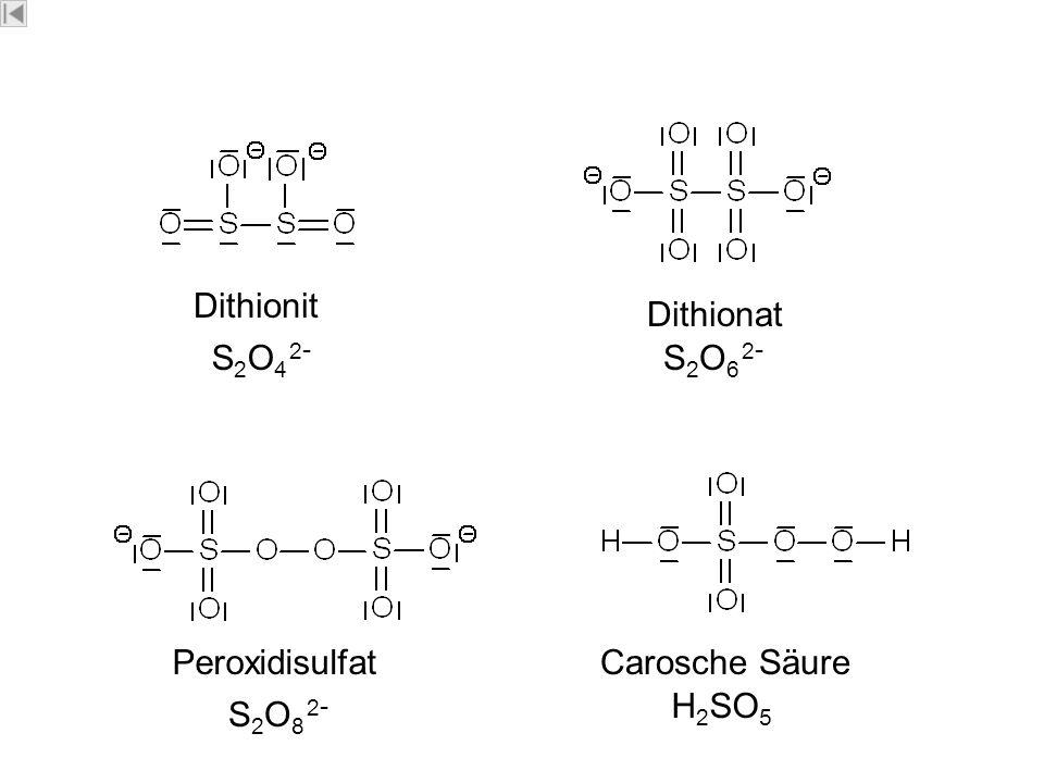 Schw efel Dithionit Dithionat S2O4 2-S2O4 2- S2O6 2-S2O6 2- S2O8 2-S2O8 2- H 2 SO 5 PeroxidisulfatCarosche Säure Dipl.-Ing.