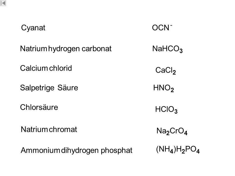 CyanatOCN - Natrium hydrogen carbonatNaHCO 3 Calcium chlorid CaCl 2 Salpetrige SäureHNO 2 Chlorsäure HClO 3 Natrium chromat Ammonium dihydrogen phosphat Na 2 CrO 4 (NH 4 )H 2 PO 4 Dipl.-Ing.