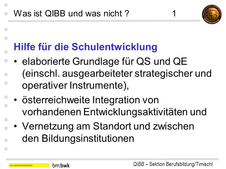 QIBB – Sektion Berufsbildung/Timischl : : : : : : : Was ist QIBB und was nicht ?1 Hilfe für die Schulentwicklung elaborierte Grundlage für QS und QE (einschl.