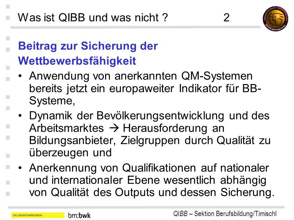 QIBB – Sektion Berufsbildung/Timischl : : : : : : : Was ist QIBB und was nicht ?2 Beitrag zur Sicherung der Wettbewerbsfähigkeit Anwendung von anerkan