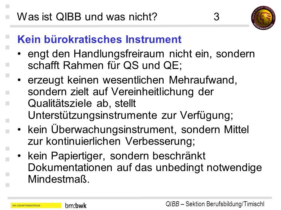 QIBB – Sektion Berufsbildung/Timischl : : : : : : : Was ist QIBB und was nicht?3 Kein bürokratisches Instrument engt den Handlungsfreiraum nicht ein,