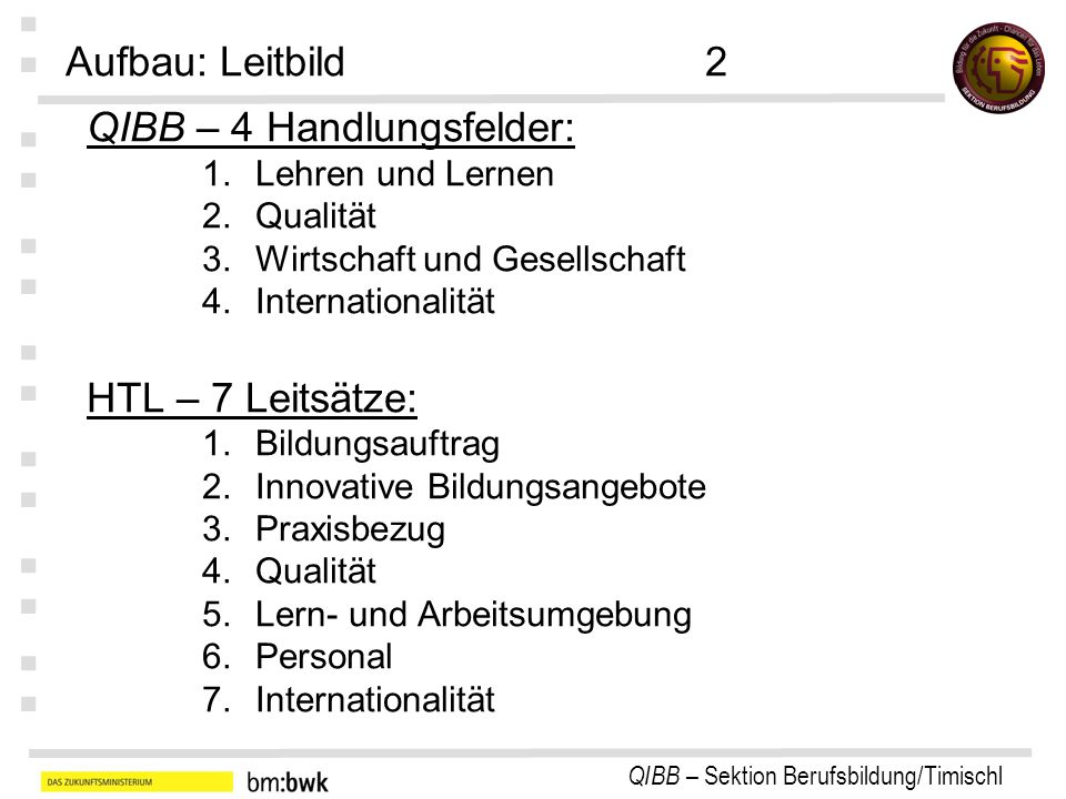 QIBB – Sektion Berufsbildung/Timischl : : : : : : : QIBB – 4 Handlungsfelder: 1.Lehren und Lernen 2.Qualität 3.Wirtschaft und Gesellschaft 4.Internationalität HTL – 7 Leitsätze: 1.Bildungsauftrag 2.Innovative Bildungsangebote 3.Praxisbezug 4.Qualität 5.Lern- und Arbeitsumgebung 6.Personal 7.Internationalität Aufbau: Leitbild2