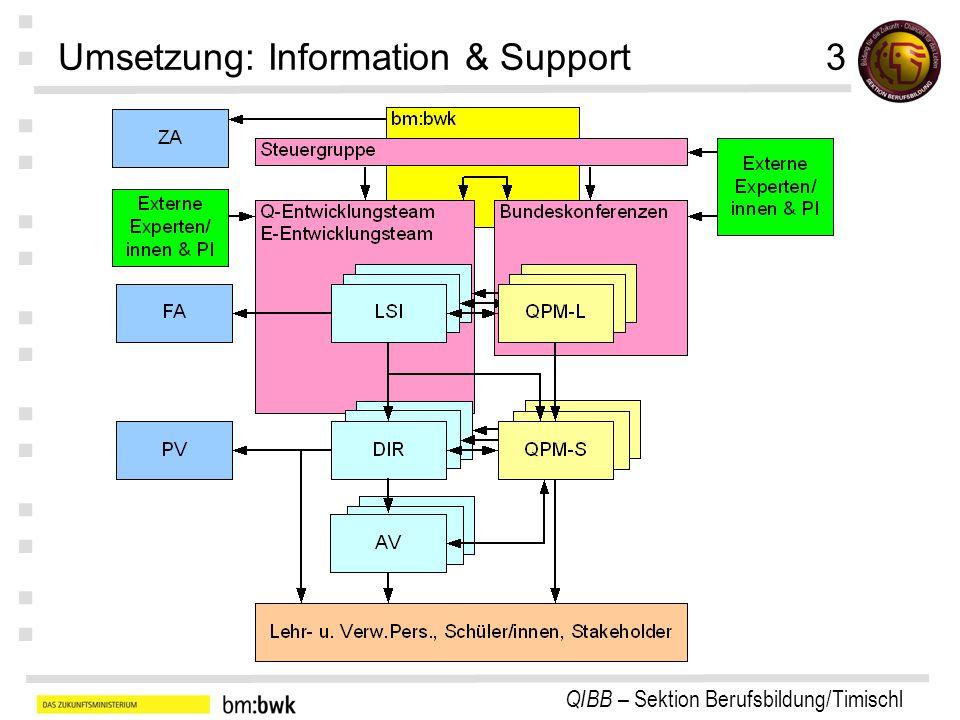 QIBB – Sektion Berufsbildung/Timischl : : : : : : : Umsetzung: Information & Support3