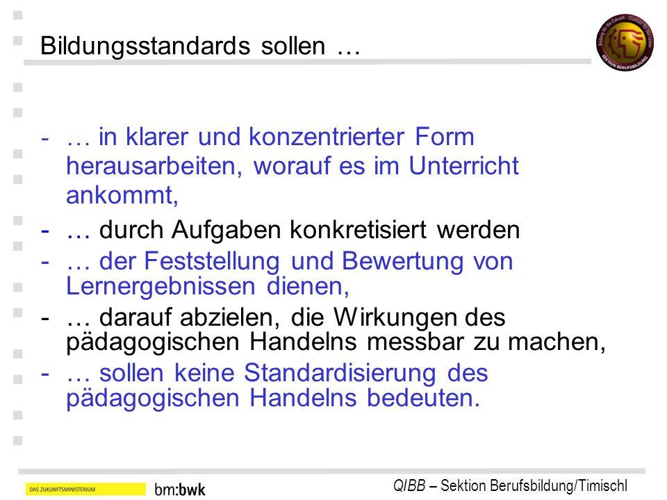 QIBB – Sektion Berufsbildung/Timischl : : : : : : : Bildungsstandards sollen … -… in klarer und konzentrierter Form herausarbeiten, worauf es im Unter