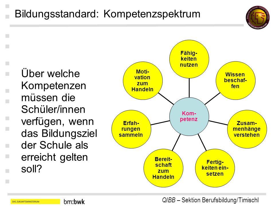 QIBB – Sektion Berufsbildung/Timischl : : : : : : : Moti- vation zum Handeln Erfah- rungen sammeln Bereit- schaft zum Handeln Fertig- keiten ein- setz