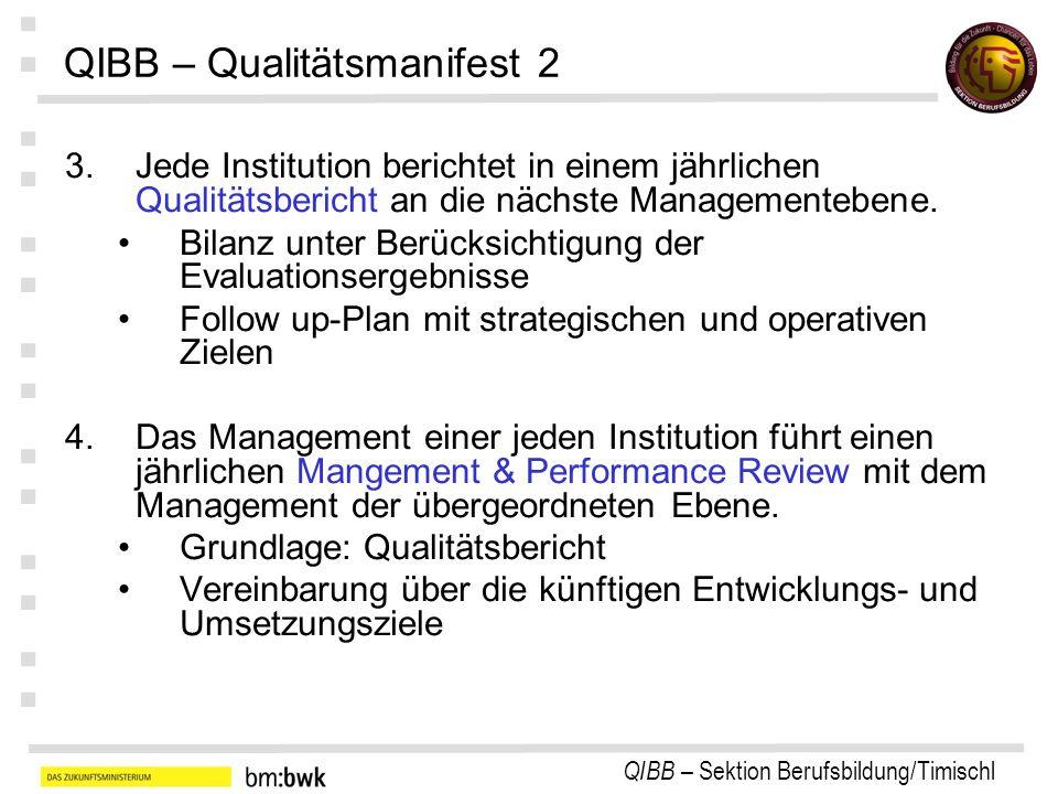 QIBB – Sektion Berufsbildung/Timischl : : : : : : : QIBB – Qualitätsmanifest 2 3.Jede Institution berichtet in einem jährlichen Qualitätsbericht an die nächste Managementebene.
