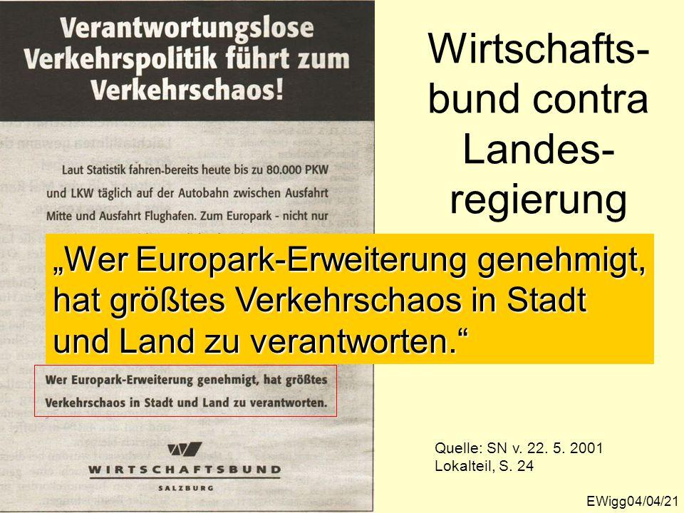 Wirtschafts- bund contra Landes- regierung Quelle: SN v.