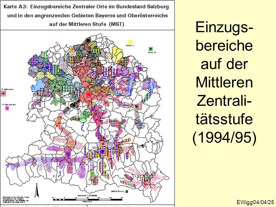 Einzugs- bereiche auf der Mittleren Zentrali- tätsstufe (1994/95) EWigg04/04/25