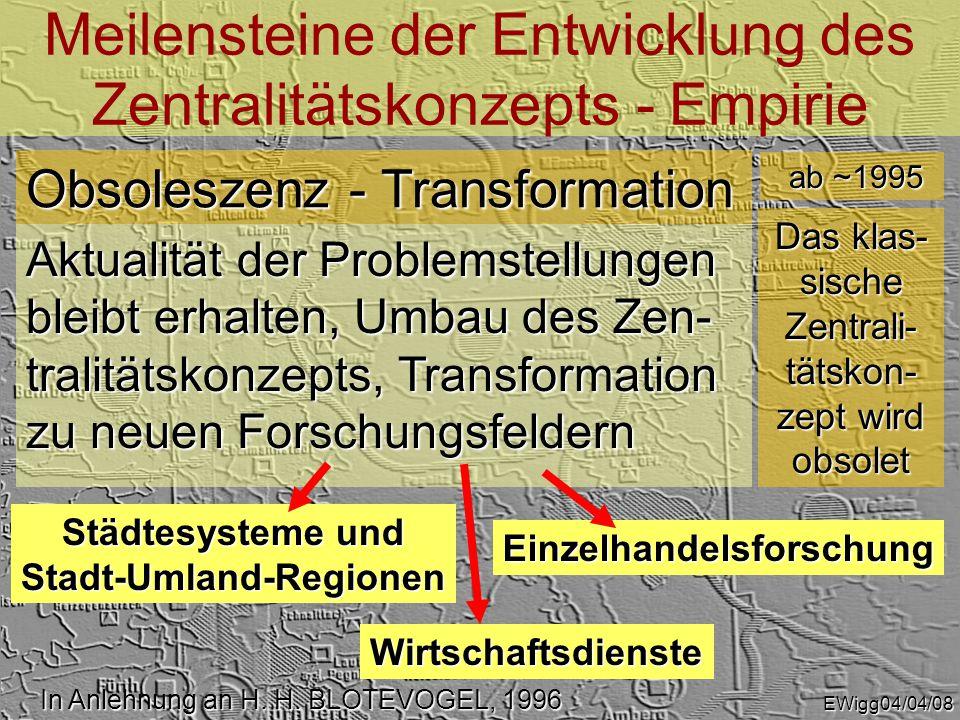Meilensteine der Entwicklung des Zentralitätskonzepts - Planung In Anlehnung an H.