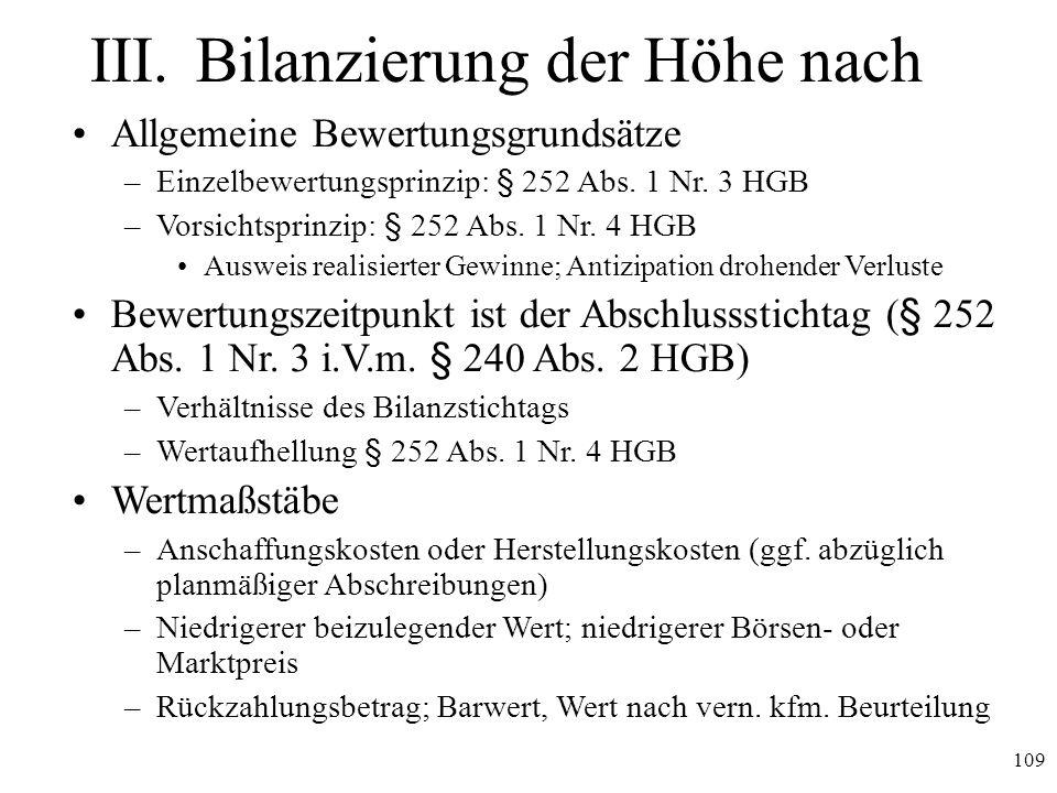 109 III.Bilanzierung der Höhe nach Allgemeine Bewertungsgrundsätze –Einzelbewertungsprinzip: § 252 Abs. 1 Nr. 3 HGB –Vorsichtsprinzip: § 252 Abs. 1 Nr