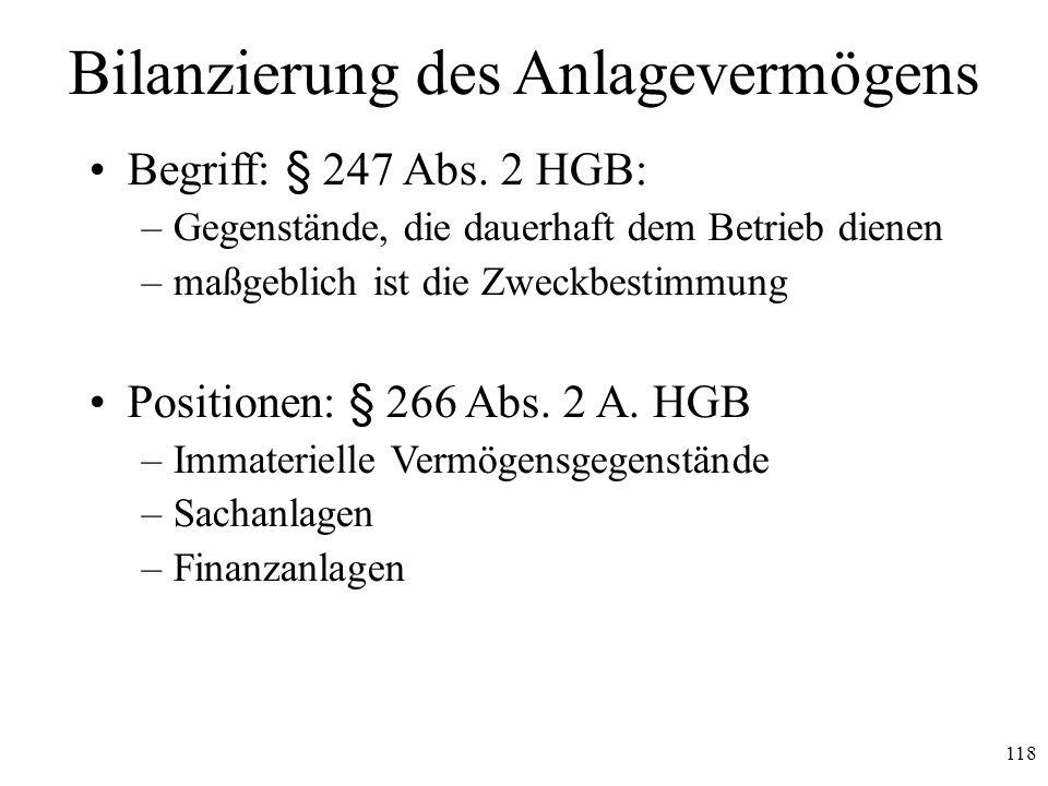 118 Bilanzierung des Anlagevermögens Begriff: § 247 Abs. 2 HGB: –Gegenstände, die dauerhaft dem Betrieb dienen –maßgeblich ist die Zweckbestimmung Pos