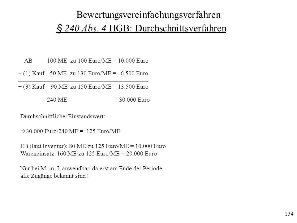 134 + (3) Kauf 90 ME zu 150 Euro/ME = 13.500 Euro AB100 ME zu 100 Euro/ME = 10.000 Euro + (1) Kauf 50 ME zu 130 Euro/ME = 6.500 Euro 240 ME = 30.000 E