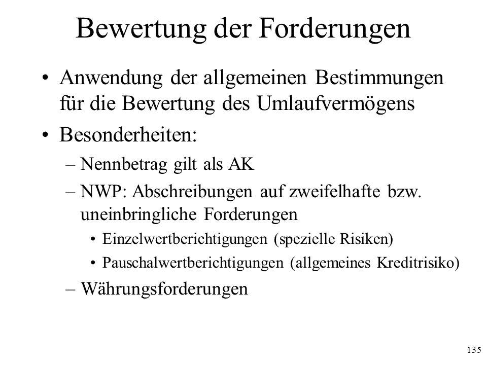 135 Bewertung der Forderungen Anwendung der allgemeinen Bestimmungen für die Bewertung des Umlaufvermögens Besonderheiten: –Nennbetrag gilt als AK –NW