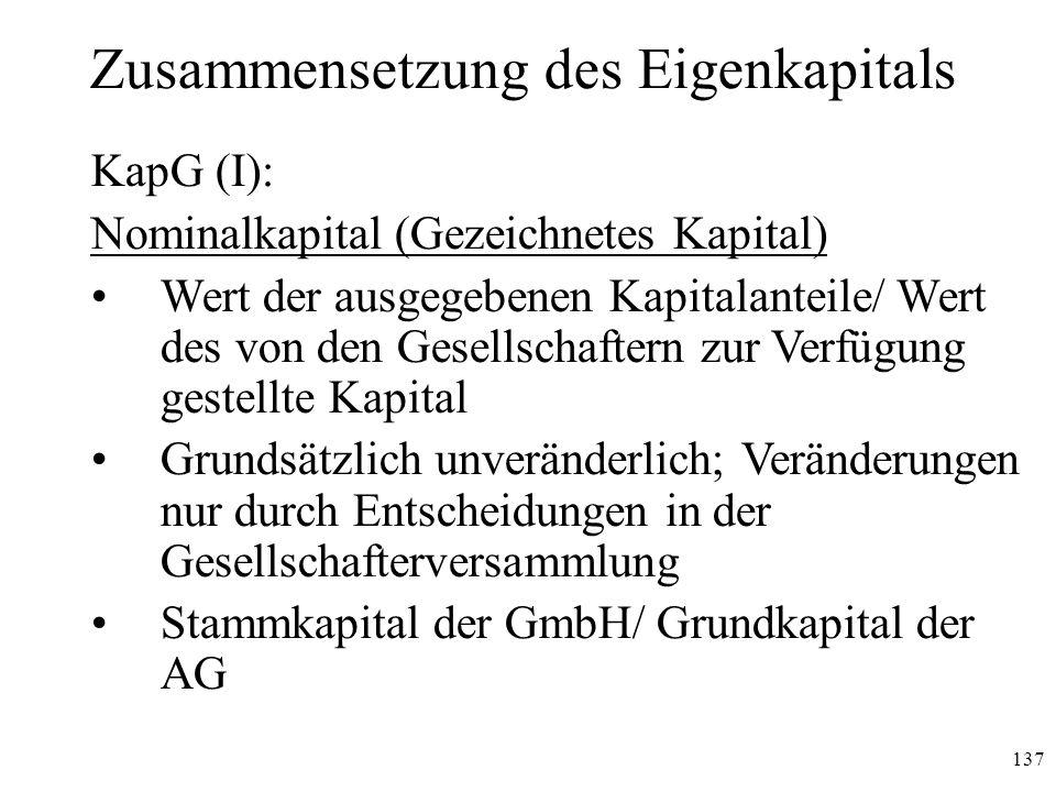 137 Zusammensetzung des Eigenkapitals KapG (I): Nominalkapital (Gezeichnetes Kapital) Wert der ausgegebenen Kapitalanteile/ Wert des von den Gesellsch