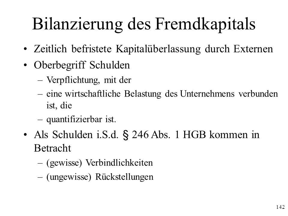 142 Bilanzierung des Fremdkapitals Zeitlich befristete Kapitalüberlassung durch Externen Oberbegriff Schulden –Verpflichtung, mit der –eine wirtschaft