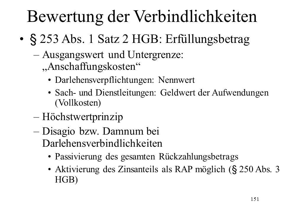 """151 Bewertung der Verbindlichkeiten § 253 Abs. 1 Satz 2 HGB: Erfüllungsbetrag –Ausgangswert und Untergrenze: """"Anschaffungskosten"""" Darlehensverpflichtu"""