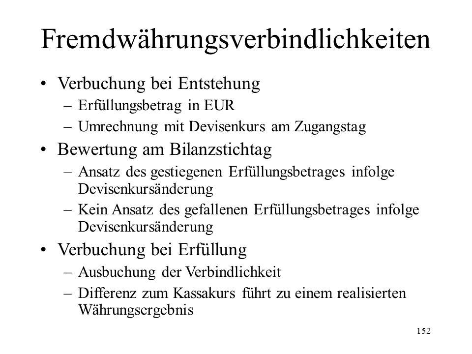 152 Fremdwährungsverbindlichkeiten Verbuchung bei Entstehung –Erfüllungsbetrag in EUR –Umrechnung mit Devisenkurs am Zugangstag Bewertung am Bilanzsti