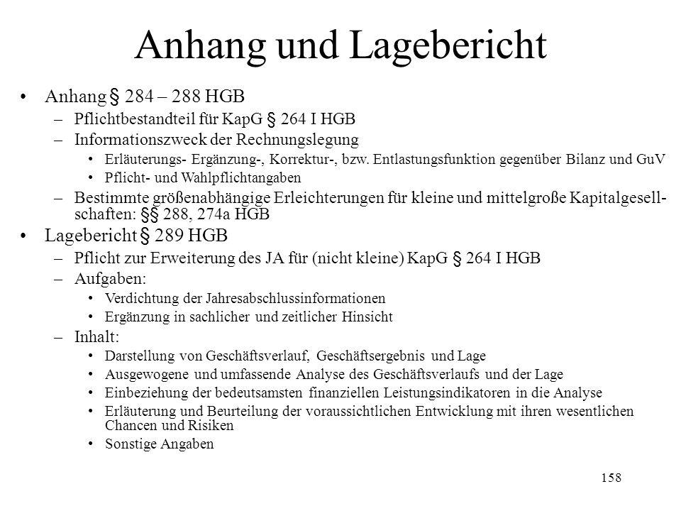 158 Anhang und Lagebericht Anhang § 284 – 288 HGB –Pflichtbestandteil für KapG § 264 I HGB –Informationszweck der Rechnungslegung Erläuterungs- Ergänz