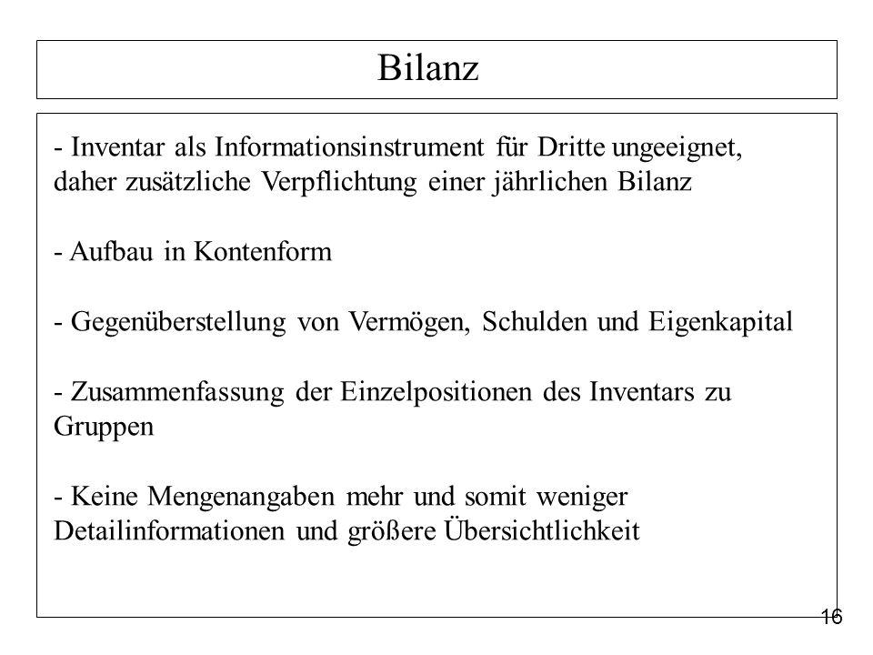 16 Bilanz - Inventar als Informationsinstrument für Dritte ungeeignet, daher zusätzliche Verpflichtung einer jährlichen Bilanz - Aufbau in Kontenform
