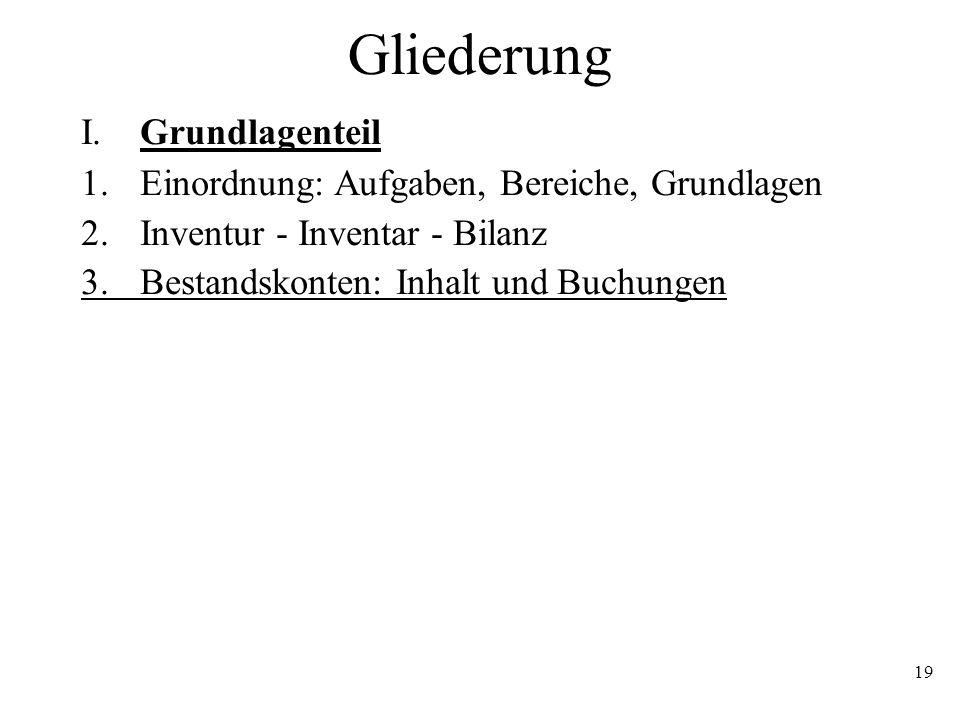 19 Gliederung I. Grundlagenteil 1.Einordnung: Aufgaben, Bereiche, Grundlagen 2.Inventur - Inventar - Bilanz 3.Bestandskonten: Inhalt und Buchungen