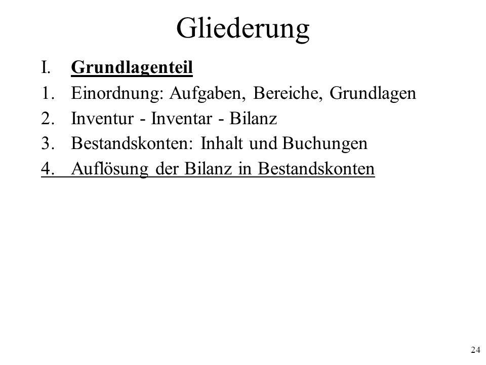 24 Gliederung I. Grundlagenteil 1.Einordnung: Aufgaben, Bereiche, Grundlagen 2.Inventur - Inventar - Bilanz 3.Bestandskonten: Inhalt und Buchungen 4.A