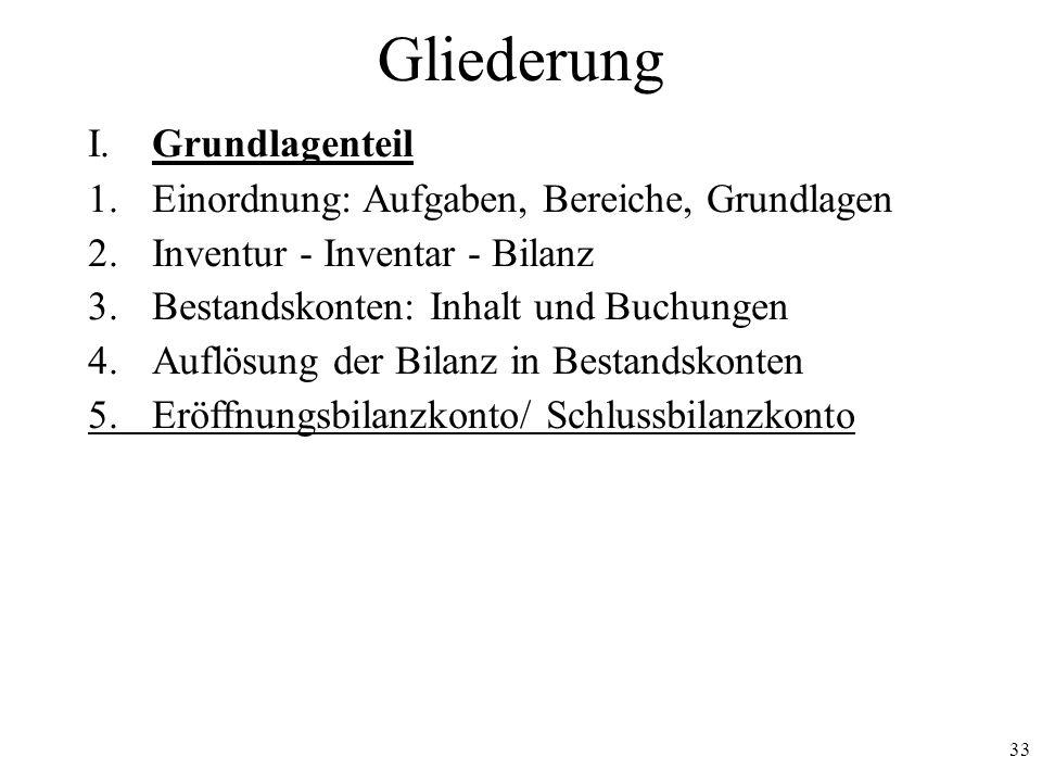 33 Gliederung I. Grundlagenteil 1.Einordnung: Aufgaben, Bereiche, Grundlagen 2.Inventur - Inventar - Bilanz 3.Bestandskonten: Inhalt und Buchungen 4.A