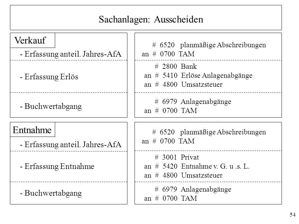 54 Sachanlagen: Ausscheiden Verkauf - Erfassung Erlös - Buchwertabgang - Erfassung anteil. Jahres-AfA # 6520 planmäßige Abschreibungen an # 0700 TAM #