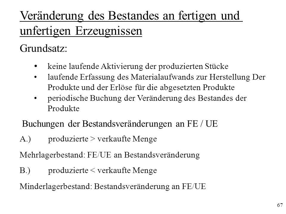 67 Veränderung des Bestandes an fertigen und unfertigen Erzeugnissen A.)produzierte > verkaufte Menge Mehrlagerbestand: FE/UE an Bestandsveränderung B