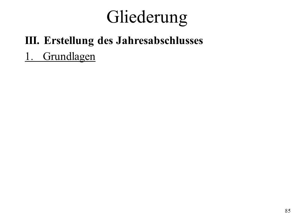 85 Gliederung III. Erstellung des Jahresabschlusses 1. Grundlagen