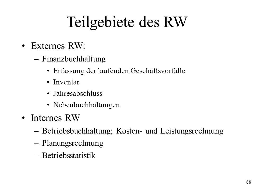88 Teilgebiete des RW Externes RW: –Finanzbuchhaltung Erfassung der laufenden Geschäftsvorfälle Inventar Jahresabschluss Nebenbuchhaltungen Internes R