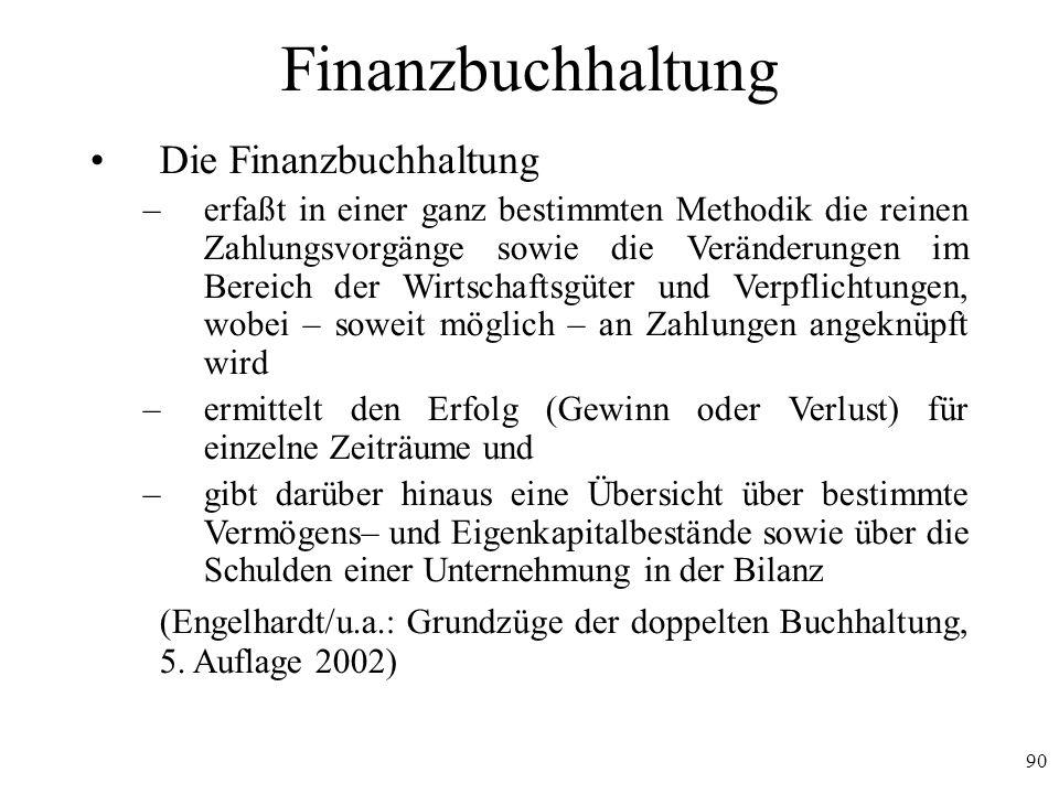 90 Finanzbuchhaltung Die Finanzbuchhaltung –erfaßt in einer ganz bestimmten Methodik die reinen Zahlungsvorgänge sowie die Veränderungen im Bereich de