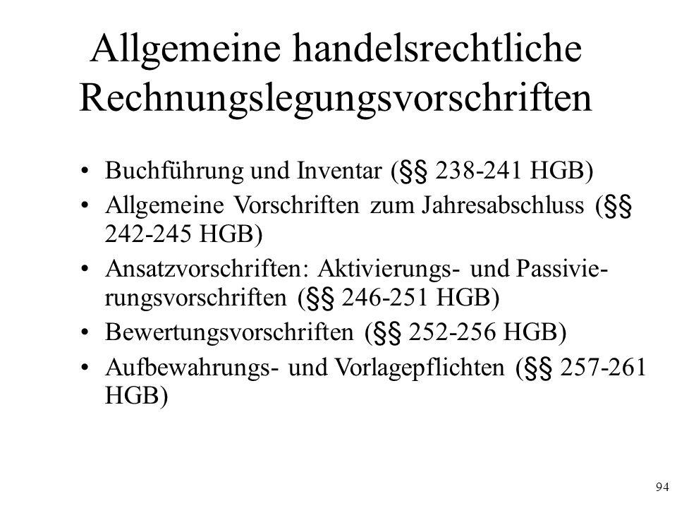 94 Allgemeine handelsrechtliche Rechnungslegungsvorschriften Buchführung und Inventar (§§ 238-241 HGB) Allgemeine Vorschriften zum Jahresabschluss (§§