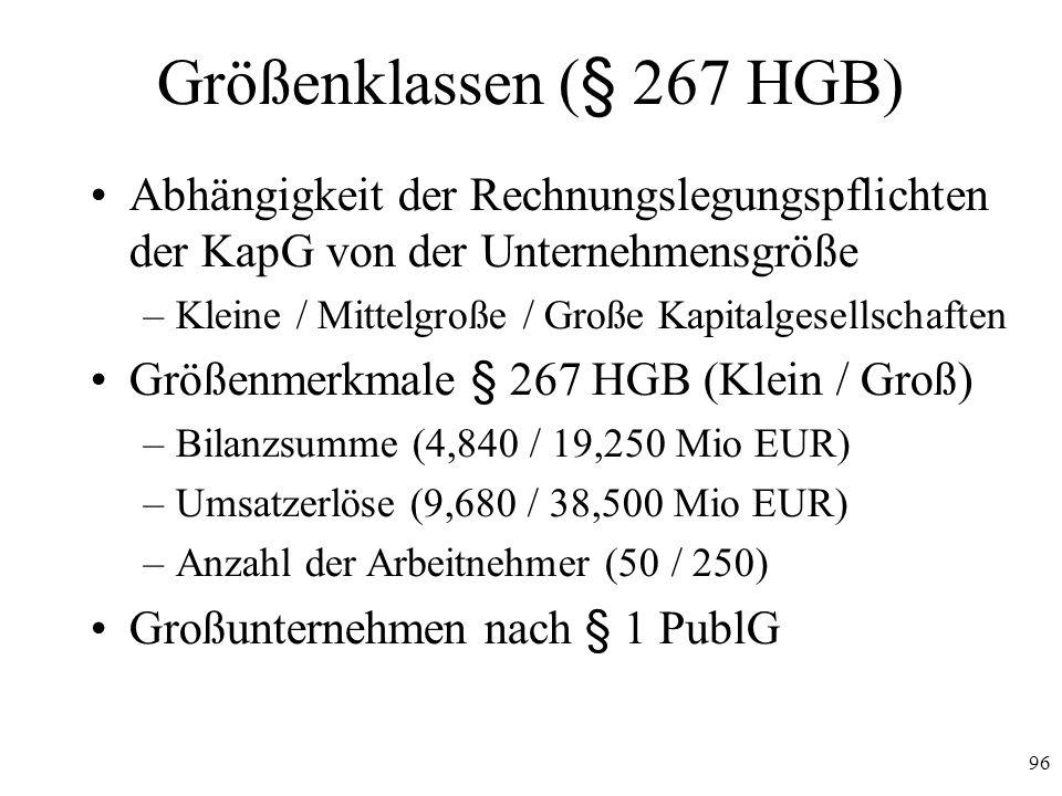 96 Größenklassen (§ 267 HGB) Abhängigkeit der Rechnungslegungspflichten der KapG von der Unternehmensgröße –Kleine / Mittelgroße / Große Kapitalgesell