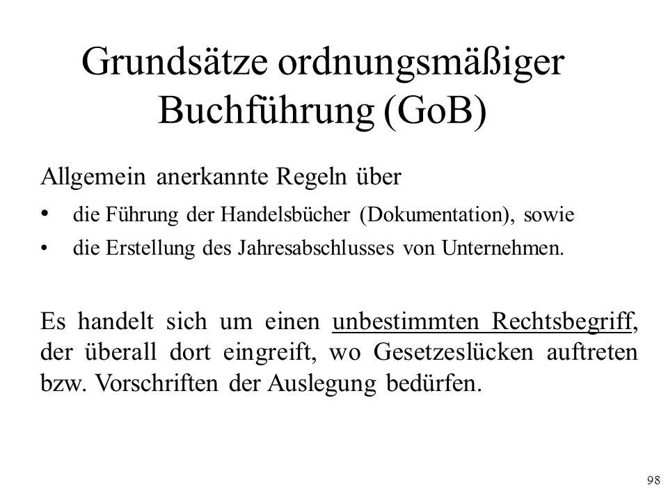 98 Grundsätze ordnungsmäßiger Buchführung (GoB) Allgemein anerkannte Regeln über die Führung der Handelsbücher (Dokumentation), sowie die Erstellung d