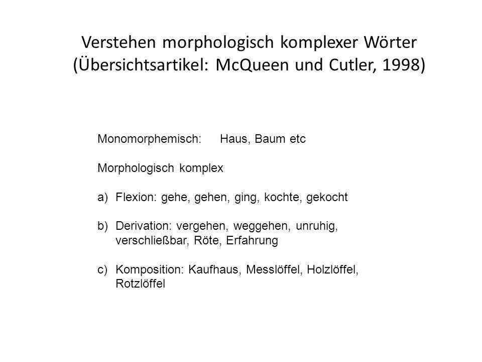 Verstehen morphologisch komplexer Wörter (Übersichtsartikel: McQueen und Cutler, 1998) Monomorphemisch: Haus, Baum etc Morphologisch komplex a)Flexion