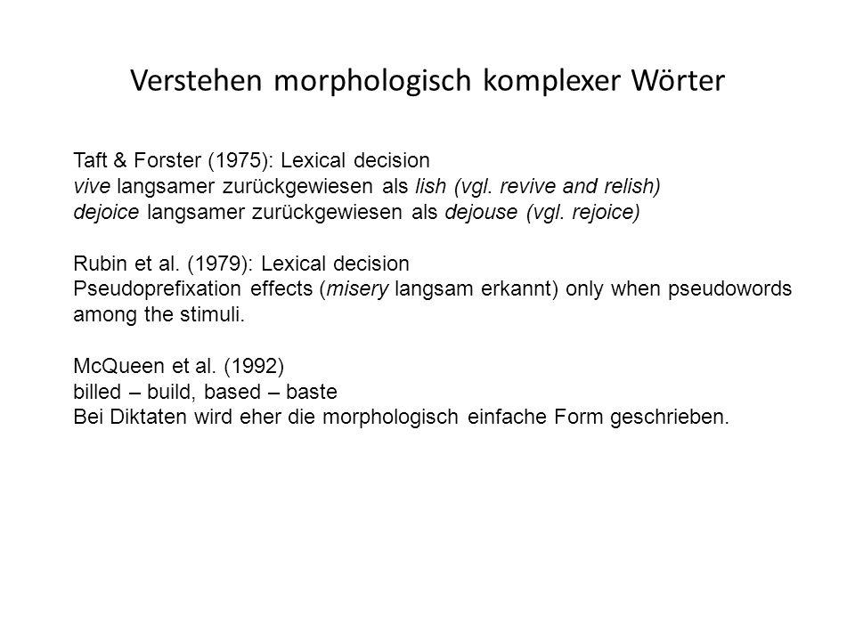 Verstehen morphologisch komplexer Wörter Taft & Forster (1975): Lexical decision vive langsamer zurückgewiesen als lish (vgl.