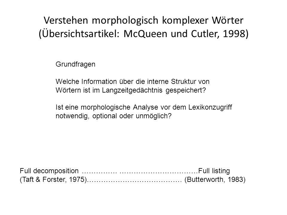 Verstehen morphologisch komplexer Wörter (Übersichtsartikel: McQueen und Cutler, 1998) Grundfragen Welche Information über die interne Struktur von Wörtern ist im Langzeitgedächtnis gespeichert.