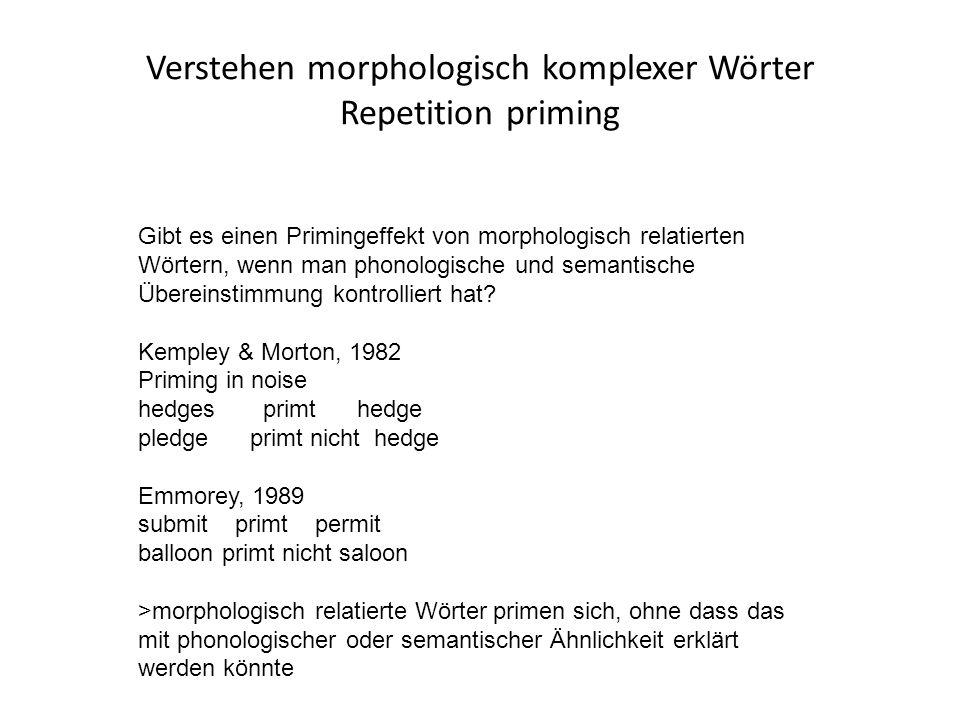 Verstehen morphologisch komplexer Wörter Repetition priming Gibt es einen Primingeffekt von morphologisch relatierten Wörtern, wenn man phonologische und semantische Übereinstimmung kontrolliert hat.